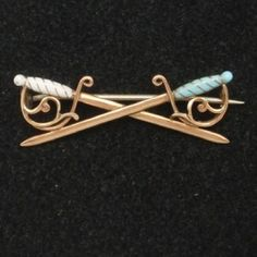 Crossed Swords Vintage 14k Yellow Gold & Enamel Pin
