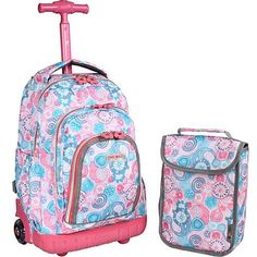 b5c890c80160 J World New York Lollipop Kids Rolling Backpack with Lunch Bag (Kids ages  Blue Raspberry - J World New York Wheeled Backpacks
