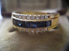 Art Deco Style Three Row Princess cut diamond & Sapphire 18ct yellow gold ring