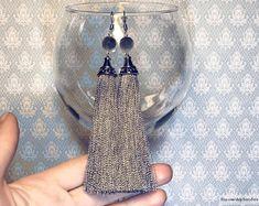 DETAILS ░ Gray tassel earrings, silk earrings, long earrings, bunch earrings, silver earrings, gray earrings, fancy earrings, festive earrings, tassel silk earrings, thread earrings, cascade earrings, gray tassels, earrings with tassels, drop earrings, dangle earrings ░ Silver tassel caps ░