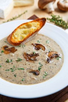 Roasted Mushroom and Brie Soup. I saute the mushrooms in a skillet with butter, olive oil, shallots, and garlic rather than bake them in the oven. Tastes better and is much quicker.