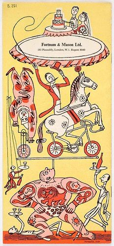 """Entertaining A La Carte"" brochure illustration by Edward Bawden for Fortnum & Mason, Piccadilly, London"