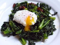 Kale with Chorizo and Poached Eggs ... If the idea of a poached eggs is scary, just do an over-easy egg. Make sure the sausage is MSPI-friendly. Bacon instead of the chorizo would be great, too!