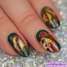 Painted Fingertips | Dragon nails - The Digital Dozen Does Mythical Creatures