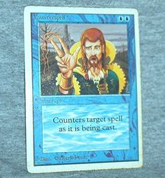 MAGIC The Gathering  COUNTERSPELL, Interrupt Card, Single Card, white border, Unlimited, Played, VG+- Exc. by brotoys1 on Etsy