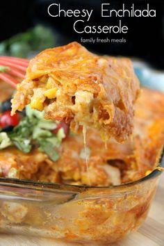 Cheesy Chicken Enchilada Casserole - FamilyFreshMeals.com - YUM! Favorite family meal!
