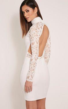 Bethenny Cream Cut Out Back Lace Insert Bodycon Dress Image 1 Koktejlové  Šaty ed99cde0c5