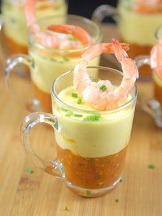 Recette Verrines de tomates, mousse de poivrons jaunes et crevettes