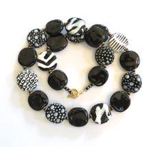Ceramic Jewelry Kazuri Bead Necklace Black and by lizbriggsdesigns, $52.00