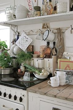 Country kitchen with all kinds of things hanging and dangling- use kitchen rails and hooks (spices in little bowls, greens, stacked cups, canisters, open shelving)