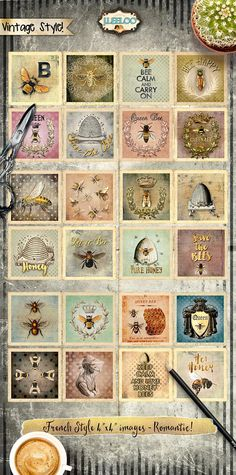 SAVE THE BEES Digital collage sheets - Square images instant download ready to print for coaster, thank you cards or hang tags, your jewelry making, resin pendants, rings, earrings and button, for magnets, stickers, scrapbook and your others craft project. ••••••• Coupon Codes available: