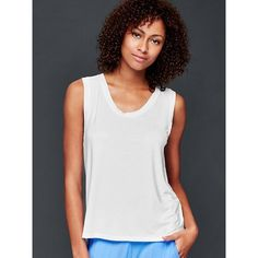 Gap Women Pure Body Modal Muscle Tank (150 CNY) ❤ liked on Polyvore featuring tops, regular, white, sleeveless tops, white sleeveless top, white tank, sleeveless tank tops and layered tops