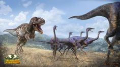 A Tyrannosaurus in hot pursuit of a flock of Gallimimus.
