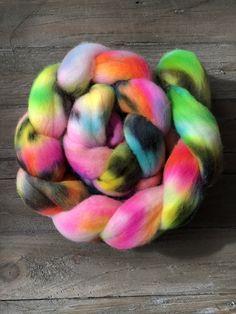 Yarn and Fiber Gallery — 222 Handspun Neon Rainbow, Rainbow Art, Crochet Stitches, Knit Crochet, Yarn Twist, Textured Yarn, Art Yarn, Hand Spinning, Wool Yarn