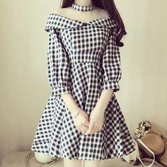 "Black/re grid princess ruffled dress SE10029      Coupon code ""cutekawaii"" for 10% off"