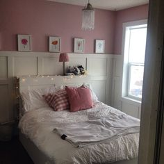 Sophie's new bedroom- paint colour (Benjamin Moore)- Kept Love Letters, light fixture Soder Pendant lamp (Ikea), bed (with drawers underneath) Brimnes (Ikea), paneling by Andy <3