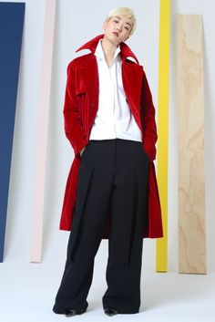 Red White and Blue look from Rosie Assoulin's Fall 2014 Collection
