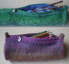 Knitting Needle Case-This pattern is available as a free Ravelry download. A cylindrical needle case wide enough to hold long needles, this pattern can be easily adapted to knit a standard pencil case. Step by step instructions for sewing in the zip and lining are included.