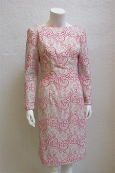 a8e9df42 1960's Pink and Silver Cotton Knit Sheath Dress With Open Back / Size: 27
