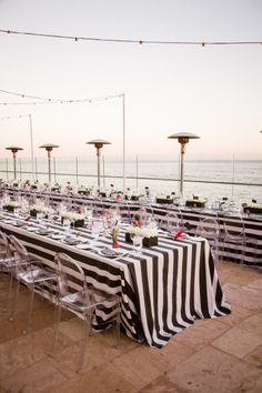 Black and white striped wedding tables: http://www.stylemepretty.com/california-weddings/santa-barbara/2015/02/04/black-and-white-santa-barbara-summer-wedding/ | Photography: Jessica Lewis - http://www.jessicalewisphoto.com/