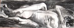 Passion.  Indian Ink on Fabriano Rosapino paper. 140 x 56cm.  SOLD.