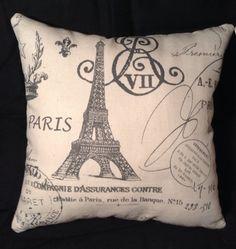 French Paris Eiffel Tower Theme Square Decorative Accent Pillow 10x10 12x12 or 14x14