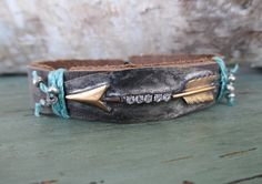 Arrow leather bracelet One Direction fun by slashKnots on Etsy