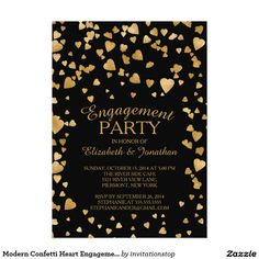 Modern Confetti Heart Engagement Party Invitation