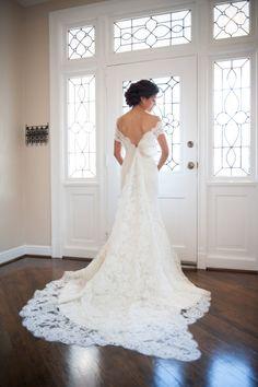 Stunning lace off the shoulder dress: http://www.stylemepretty.com/pennsylvania-weddings/pittsburgh/2014/04/24/elegant-afternoon-brunch-wedding/ | Photography: Rhaina Taylor - http://www.rhainataylor.com/