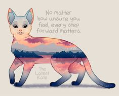 "'""Every Step Forward Matters"" Ocean View Sunset Cat' Poster by thelatestkate Inspirational Animal Quotes, Cute Animal Quotes, Motivational Quotes, Cute Animals, Positive Thoughts, Positive Vibes, Positive Quotes, Cute Animal Drawings, Cute Drawings"