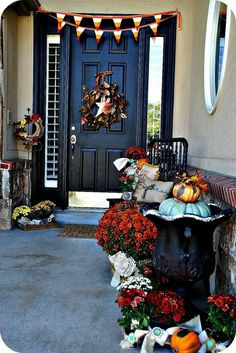 Fall Front Porch Decorating Ideas check out the turquoise pumpkin. Love it