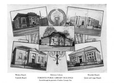 1911 Toronto Public Library annual report showing the first five Toronto Carnegie libraries.