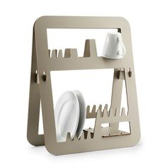 Dish Drainer - prefect for a tiny house with tiny footprint in use and folds flat for storage. I hope I can adapt this to fit on the wall.