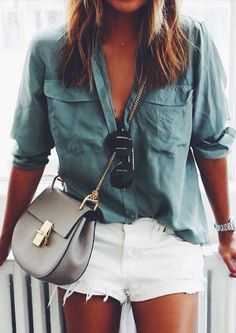 White shorts with a button up shirt, oversized. Layer, come Fall.                                                                                                                                                                                 More