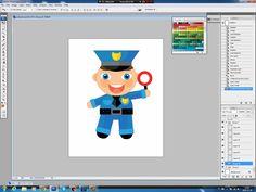 Illustrating drawing painting - cartoon policeman - rysowanie