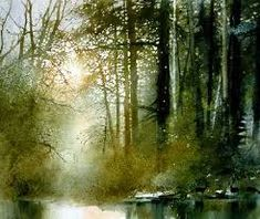 Image result for forest clearing pool watercolour painting