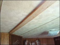 Fix saggy ceiling panels: stain or paint board before installing, might look nice with several in the kitchen
