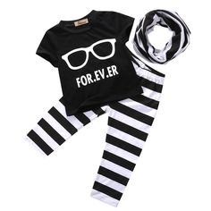 >> Click to Buy << Newborn 0-24Months Infant Baby Boys Top Black Short Sleeve T-shirt +Long Sriped Pants Leggings + Scarf 3PCS Outfits set Clothes #Affiliate