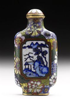 China  Snuff Bottle (Biyanhu) with Landscape Reserves, 20th century  Snuff Bottle; Cloisonné; Metalwork, Cloisonné enameled meta