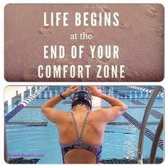 Life begins at the end of your comfort zone #reach #strive #goals #swim #strength #mondaymotivation #blonderunner