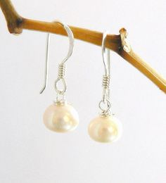 Ivory Grade A Button Freshwater Pearl Drop Earrings Pearl Drop Earrings, Free Gifts, Fresh Water, Bridal Jewelry, Gift Guide, Personalized Gifts, Wedding Gifts, Unique Gifts, Ivory