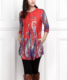 Red Floral Button-Front Side-Pocket Tunic - Plus Too