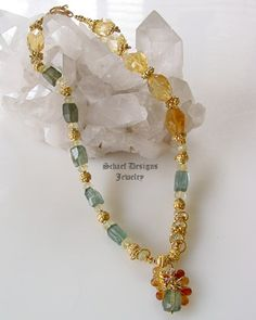Schaef Designs citrine nuggets, rare moss aquamarine and 22kt gold vermeil necklace | New Mexico