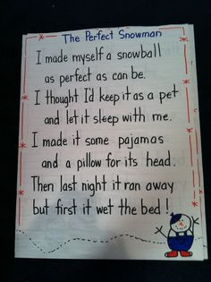 Cute snowman poem for kinder or first!