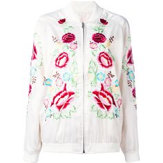 P.A.R.O.S.H. rose embroidered bomber jacket (650 BRL) ❤ liked on Polyvore featuring outerwear, jackets, white, bomber jackets, bomber style jacket, embroidered jacket, blouson jacket and white jacket