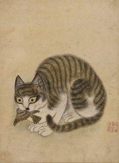 묘작도 화재 변상벽 (Byeon Sang-byeok).  Joseon Dynasty, 18th c. Byeon is one of the most respected painters of the Joseon Dynasty. He was skilled at depicting animals, especially cats.