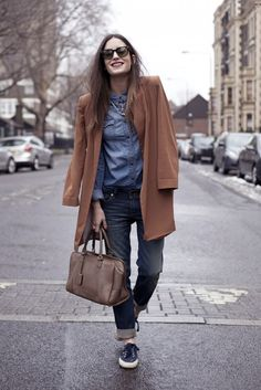 Look of the Day: Triple denim and some silk