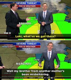 Tom Hiddleston Reports the Weather as Loki