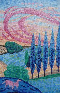 Dans le Pré, mosaic by Francoise Moulet -- more smalti inspiration Mosaic Tile Art, Mosaic Crafts, Mosaic Projects, Stone Mosaic, Mosaic Glass, Glass Art, Stained Glass, Mosaic Animals, Mosaic Pictures