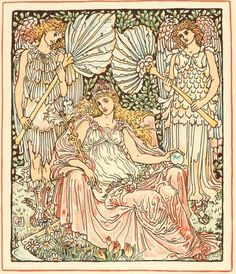 Queen Summer or The Tourney of the Lily & the Rose (1891), Illustration by Walter Crane